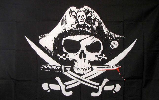 Пиратский флаг пиратов Веселый Роджер в шляпе с ножом 90*60, 150*90 см