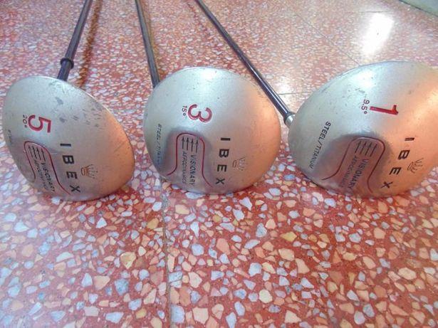 3 tacos de golf Ibex em titânio + mala antiga