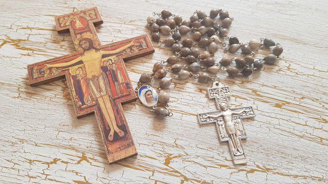 Różaniec rękodzieło nasiona łzy Maryi krzyż św. Franciszka
