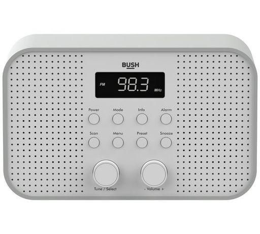 Radio FM Bush Małe Kompaktowe Biało-Szare