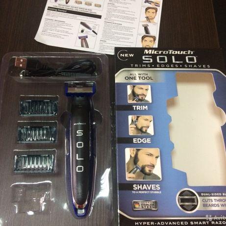 Триммер аккумуляторный мужской Черный с синим для бороди EU стандарт