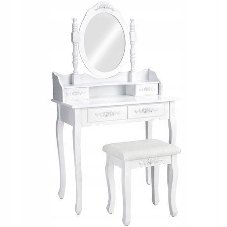 Toaletka kosmetyczna z lustrem biała +taboret