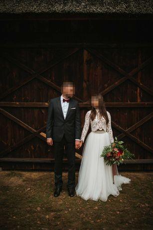 Suknia ślubna boho/długi rękaw Patrycja Pardyka (top+spódnica)