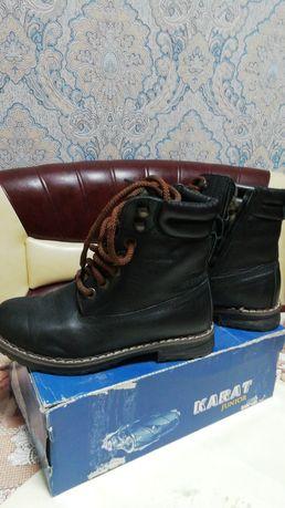 Кожаные тёплые ботинки