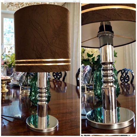 Lampa stolowa vintage z abazurem 1980r