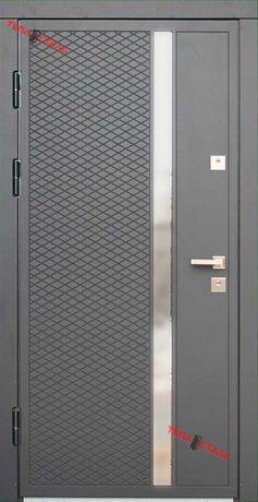 Вхідні двері ТЕПЛОСТАЛЬ(Н27 антрацит сірий)(Н27 білий)(Р5)(96*205Л)
