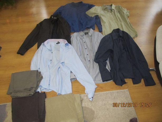 Zestaw męski 9 sztuk XL spodnie, koszule, wiatrówka