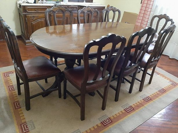 Mesa de Jantar Estilo Inglês c/ 8 Cadeiras Almofadadas Madeira Maciça