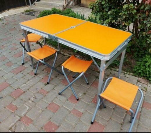 Стіл рокладний алюмінєвий з стільцями (4шт) усилений ! (оранжевий)