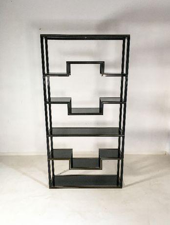 Pierre Vandel regał metalowy szkło lata 80 vintage design