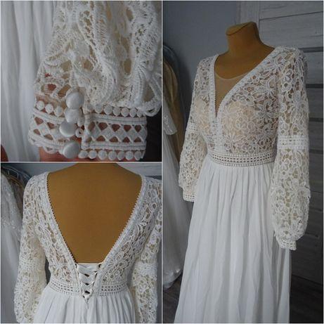 nowa koronkowa suknia ślubna w tylu boho 36/38 z długim rekawem