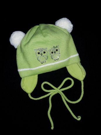 Деми шапка на х/б подкладке 1.5-3 года  демисезонная шапочка весенняя