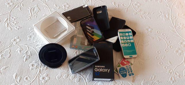 Samsung Galaxy S7 32G desbloqueado carregador sem fios + extras incl.