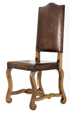 Cadeira Espaldar alto estofada couro c/ pregaria
