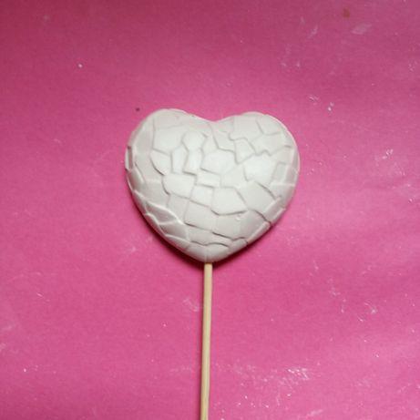 Gipsowe serce na patyku 50 sztuk. Walentynki