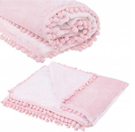 Narzuta KOC z pomponami różowy / szary 160x200 ( 200x220)