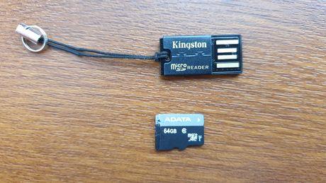 Karta pamięci micro SD Adata 64GB + czytnik Kingston