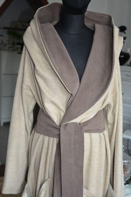 46 48 52 Płaszcz długi wełna oversize z kapturem beż brązowy plus size