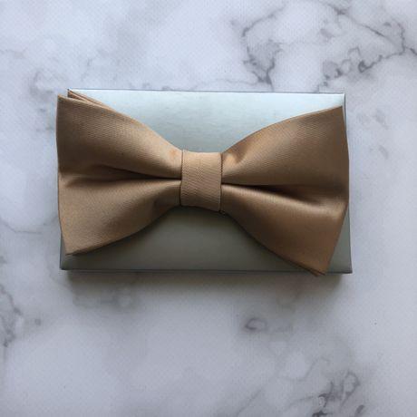Атласная бабочка ручной работы мужская для свадьбы золотая шампань