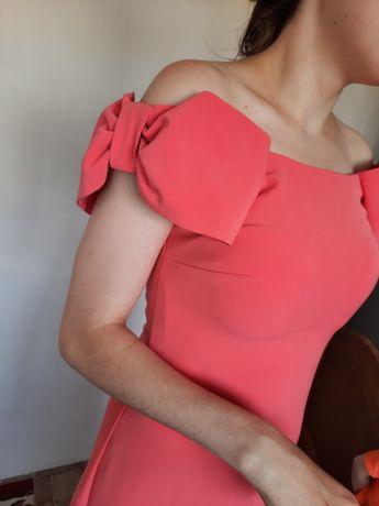 Вечерне кораловое платье в пол/ выпускное 44 р