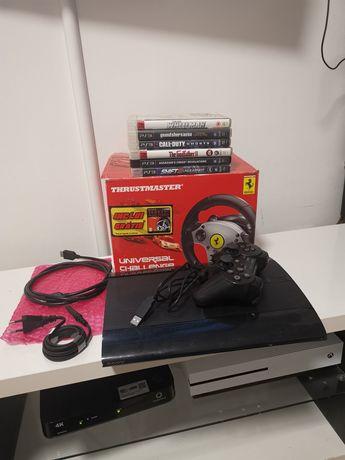 PS3 com jogos 1 comando com disco SSD 300gb e volante com pedais