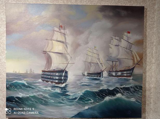"""Картина масло,""""Кораблі"""", морський пейзаж"""