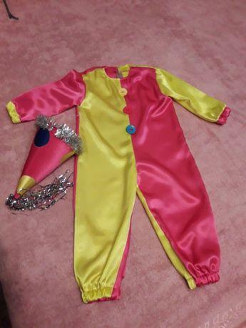 Детский новогодний костюм Петрушки (желто-малиновый) 4-6 лет