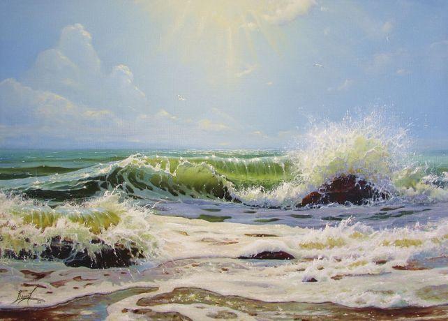 Картина маслом. Море 70 х 50 см. Живопись. Воинов Роман