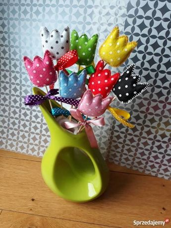 Tulipanki z filcu ozdoby wiosenne , zabawki pluszowe