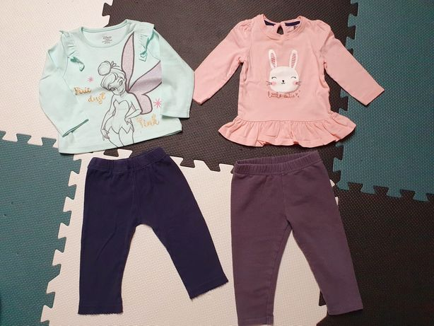 2 zestawy legginsy i bluzeczki Primark r. 74