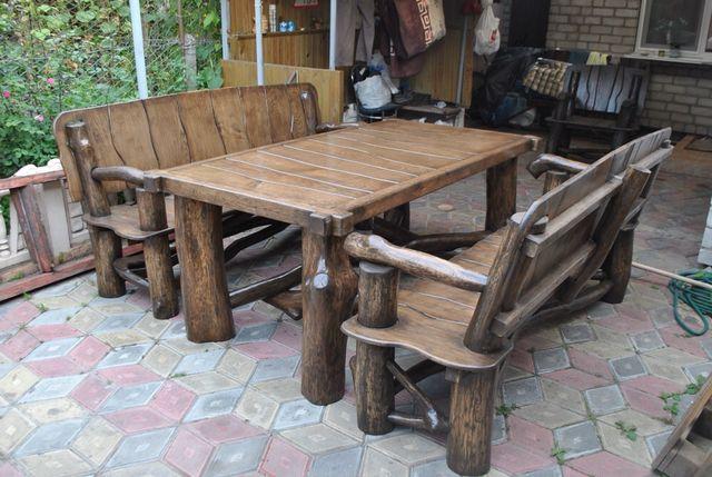 Садовая мебель из дерева: стулья стол скамейка, мебель в баню веранду