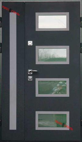 Вхідні двері ТЕПЛОСТАЛЬ (RAL 7016) (Н2 дуб полярний) (Р6)(120*205П)
