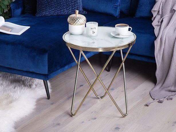 Mesa de apoio efeito mármore com dourado ø 50 cm MERIDIAN II - Beliani