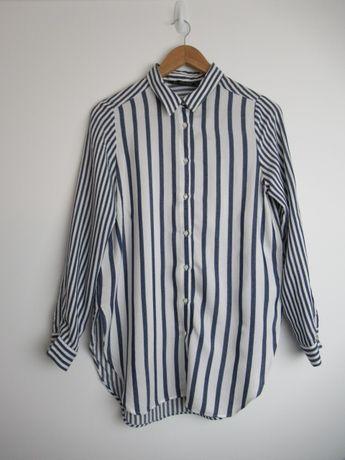 Koszula bluzka Zara prązki pasy biało niebieskie M