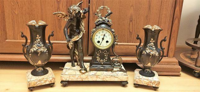 Wspaniały duży zegar kominkowy z przystawkami XIX wiek