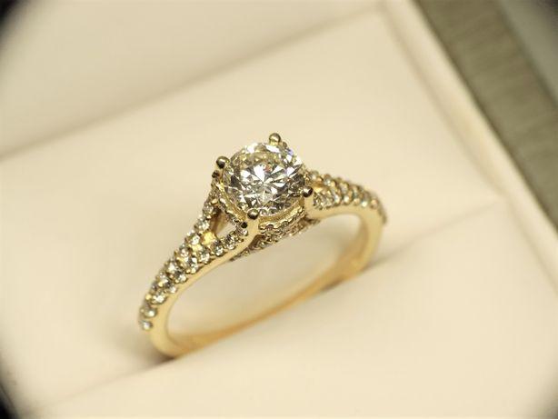 Pierścionek zaręczynowy z diamentem brylantem 1,58 CT G VS1 Certyfikat