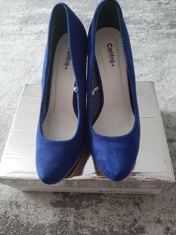 buty koturny niebieskie