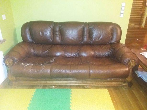 Sofa kanapa dębowa dąb rustykalny skóra