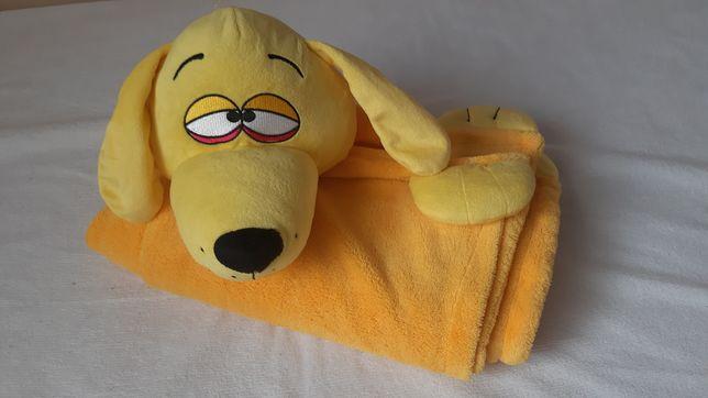 huggle uppet игрушка покрывало плед желтый флис пес собака 85*100