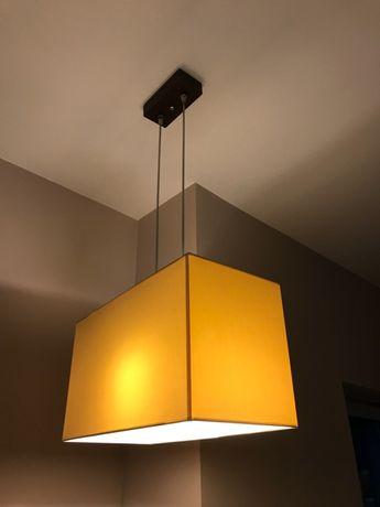 Lampa sufitowa, wisząca, żyrandol beżowa drewniana - Kandela