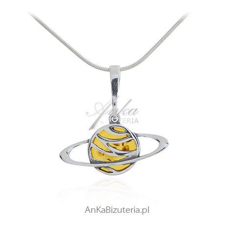 ankabizuteria.pl Zawieszka srebrna - ORBITA - biżuteria z bursztynem