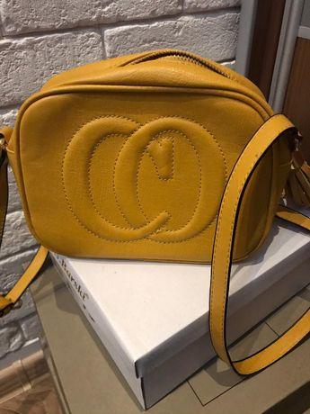 dwie torebki w pakiecie, różowa z zamszu, żółta z ekoskóry