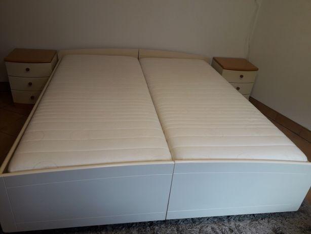 Łóżko sypialniane 190cm x 200cm + szafki nocne + materace