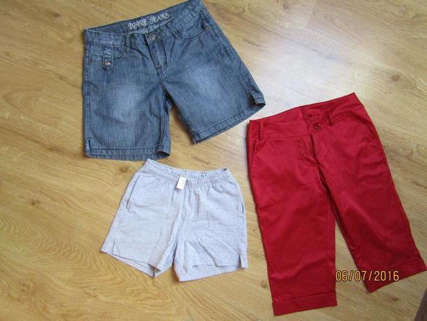 spodenki damskie jeansowe 27 i satynowe S,spodenki dziewczęce110/113