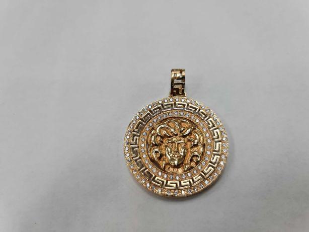 Bardzo duży złoty wisiorek damski/ 585/ 11.25 gram/ Motyw Versace