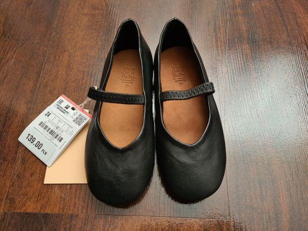 Nowe Balerinki buciki skórzane Zara dla dziewczynki r. 24