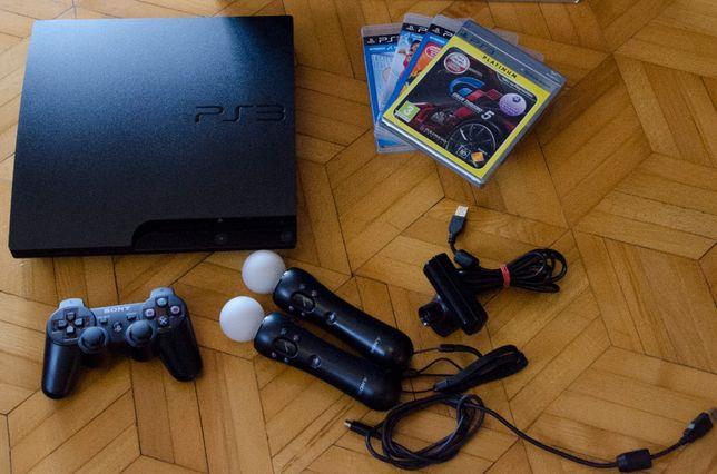 SONY PS3 Slim 320gb + pad + 2x kontroler + kamera + 4 gry