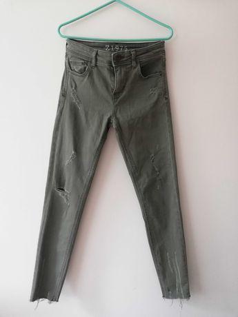 Spodnie slimmy khaki ZARA