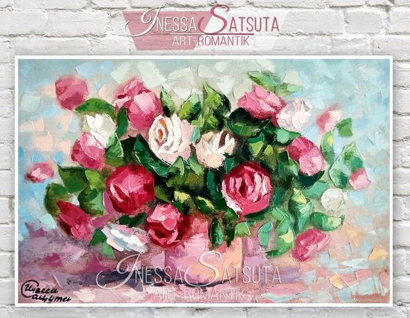 Картина маслом на холсте красные и белые розы в вазе букет цветов
