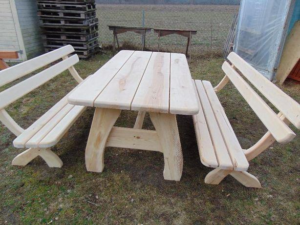 Zestaw ogrodowy, 2 ławki i stół, meble ogrodowe.